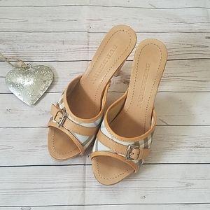 Burberry Nova Check Mules sandals wooden heels 38